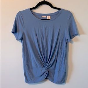 Blue Gathered Front T-Shirt
